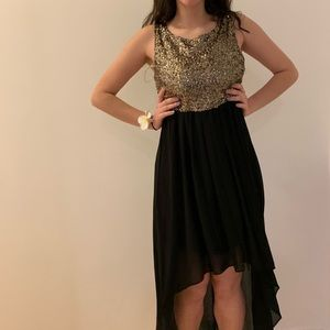 Sparkly A-Line Dress with Black High-Low Skirt
